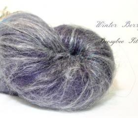 WINTER BERRY Wool Batt, Spinning fiber, art batt, felting batt, carded batt for spinning or felting- 2.6 oz 