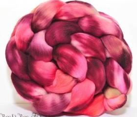 ON FIRE - Wool Roving, Merino Hand Painted Combed Top for Spinning or Felting Fiber - 4.1 oz